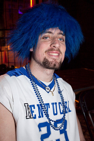 UK fan galore Jeffrey Adkins waits during halftime for more Final Four action.