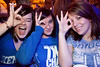 Kayla Robinson, Ashley Meredith, and Cassie Stringer flash the symbol for the deep three.