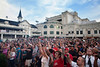The crowds came out fof some gambling and some rocking as The Villebillies performed at Churchill Downs during night races.