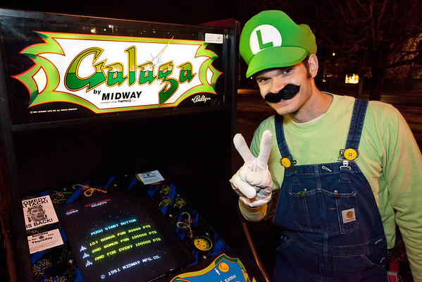 Mario and a classic Galaga machine were on hand to promote the upcoming Louisville Arcade Expo (March 8-10th, 2013 at Ramada Plaza.)