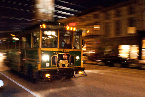 Scenes from the First Friday Trolley Hop along East Market Street.