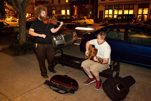 Street musicians are a staple of the Trolley Hop scene.