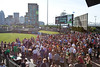 The crowds arrived early at Slugger Field for a Thirsty Thursday featuring $1 beers.