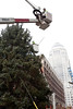 Holiday preparations continue in Downtown Louisville as the official tree is detailed at the corner of Fourth & Liberty.