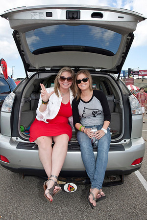 Sarah Geftos and Anne Miller demonstrate true tailgating.