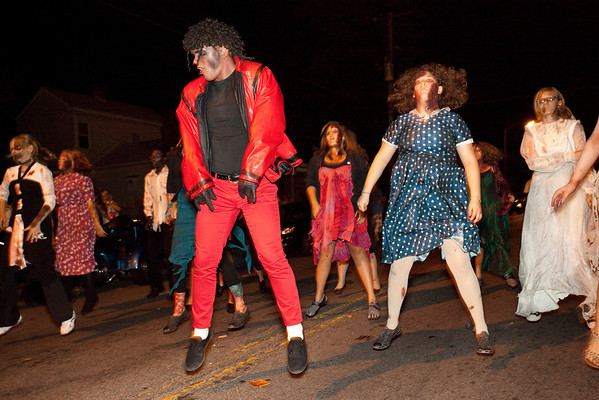 The Thriller dance team arrives and steals the attention for a few minutes.