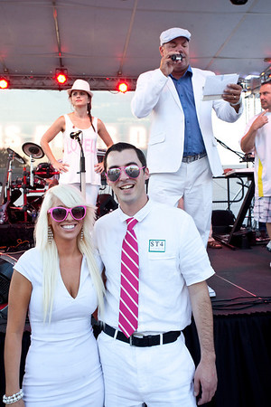 """Contestants in the """"Best Couple"""" category gathered to show off who best illustrated the White Out theme of the night."""