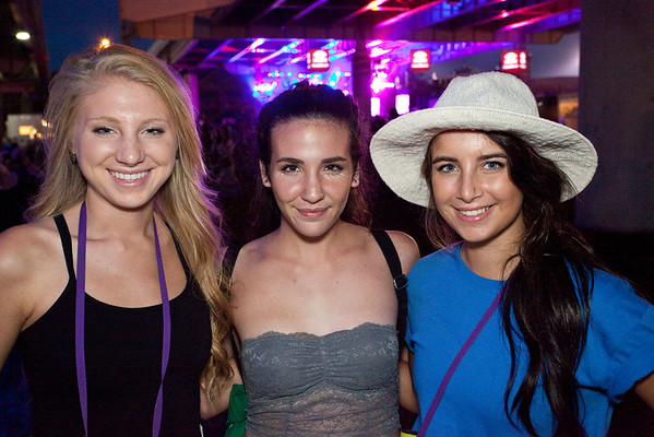 Kristen Spaulding, Katie Olsen, and Alison Catalano hang out near the Boom Stage.