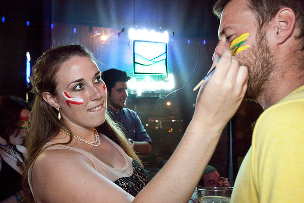 Jackie Royce takes care of the faces in the crowd.