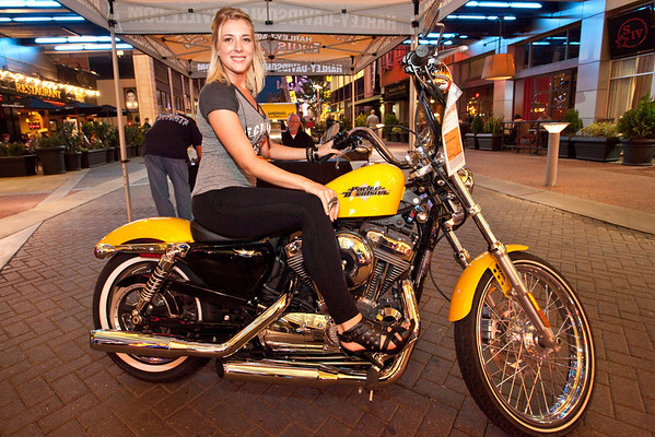 Sales associate Karissa of Harley-Davidson Louisville was on hand for a promotional giveaway.