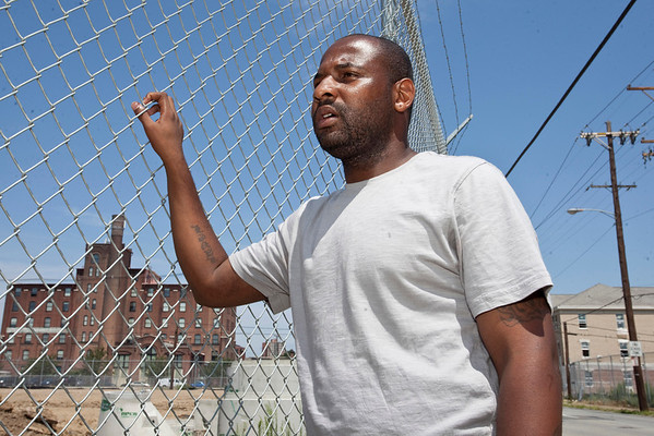 Filmmaker Lavel D. White takes a look at his past as it becomes the present on the eastern edge of his old residence, now razed completely, at 758 South Jackson Street, Bldg. #14, Apt. #J