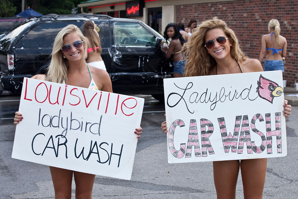 The Louisville Ladybirds held a fundraising car wash at the Impellizarri's Pizza on KY-22 on Friday afternoon. The money raised goes to funding the teams various costumes and transportation to National competitions.