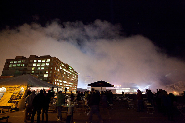 Thunder Lounge, atop a parking garage at the corner of Brook & Washington Streets, was the scene for party-goers who preferred to be above the crowds and with a clear view of the fireworks.