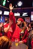 Sean Bush celebrates a Cardinal three.