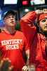 UofL fan Jesse Korfhage watches with disbelief as UK takes the lead late in the game.