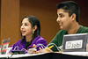 Anjali Chadha and Abey Philip smile with confidence after answering correctly for the Meyzeek Middle School team.