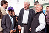 Jockey Victor Espinoza, Spendthrift Farms owner B. Wayne Hughes and trainer Art Sherman enjoy a lighter moment together at the conclusion of the drawing. Their horse California Chrome is the Derby favorite.