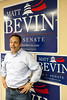 Republican Primary Senate candidate Matt Bevin speaks to the media, his staff, and volunteers on the eve of the primary election at his headquarters in Middletown.