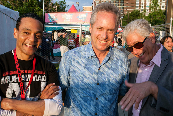 (Left to Right) Donald Lassere, Louisville Mayor Greg Fischer, and AROTR founder Gary Jacob share a few laughs together backstage.