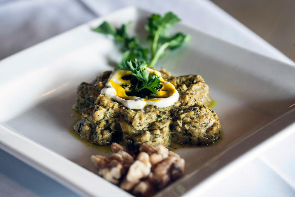 One of the popular appetizers on the menu at Saffron's is the Cashke Bademjon (aka: Eggplant + Garlic Dip.)