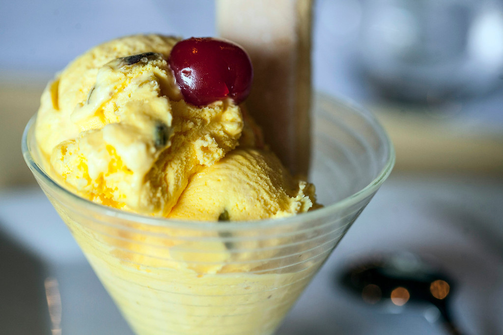 The Persian ice cream on the menu is a house-made blend of rosewater, saffron, and pistachio nuts.