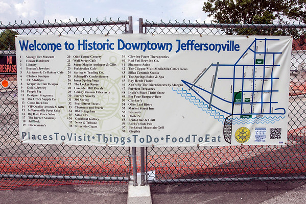 A quick guide to Jeffersonville's many attractions now hangs at the foot of the walkway near the corner of Chestnut and Pearl Streets.