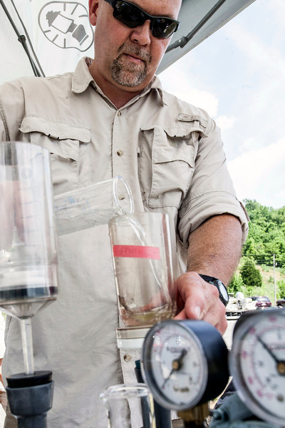 Water quality specialist/biologist Erich B. Emery of the U.S. Corp of Engineers, Great Lakes and Ohio River Division (LRD), runs tests on water samples collected from Taylorsville Lake.