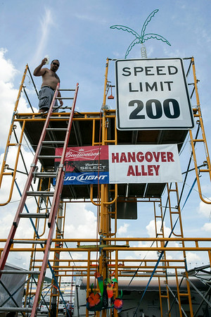 Rodd Tusing of Northern Ohio, in his 5th year of celebrating in the infield, prefers his view from above the crowd at Kentucky Speedway.
