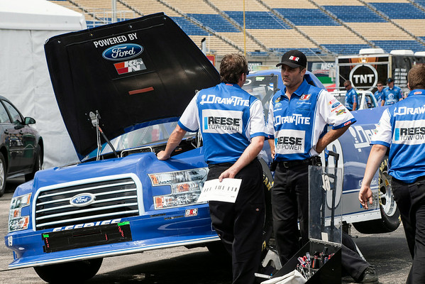 Crew members continued to work furiously into the afternoon making preparations for the weekend races.