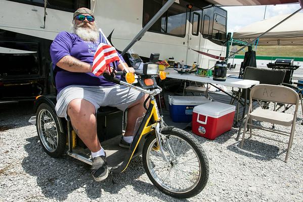 Curt Jones of Bradford, Ohio brought alternate transportation for getting around the mammoth infield at Kentucky Speedway.