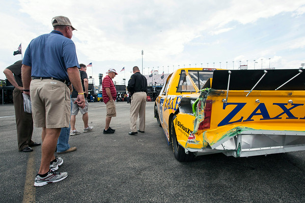 The Zaxby's racing truck was drawing the attention of early spectators as it sat awaiting a crew lift.