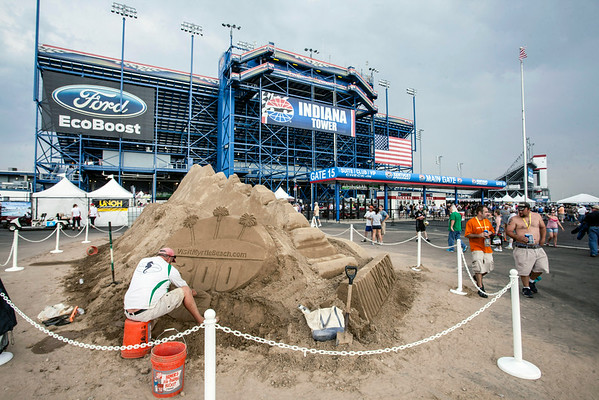 A sand castle builder was on-site promoting the NASCAR friendly city of Myrtle Beach, S.C.