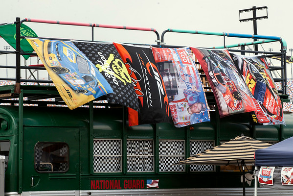 Caravans across the landscape of the infield were decorated with colorful race flags.