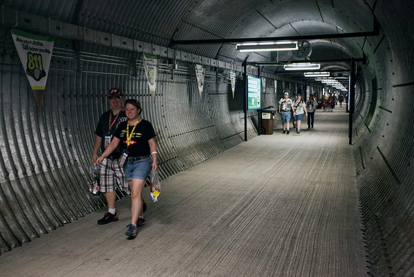 The infield underground tunnel is the shortcut to the concourse.
