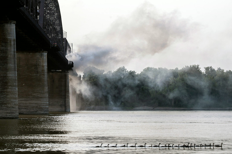A family of ducks paddled by below the scene of the fire on Monday evening.