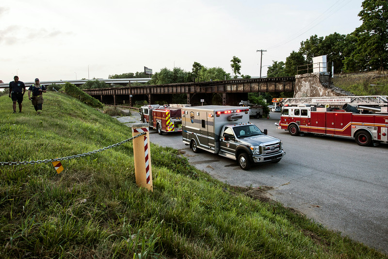 Members from several Fire & Rescue departments gathered at the Southern end of the K&I Bridge.