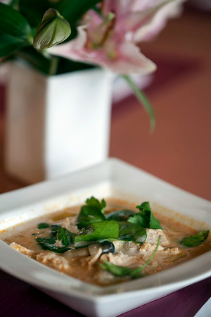 Tom Kha Gai is a chicken and mushroom soup at Thai Cafe.