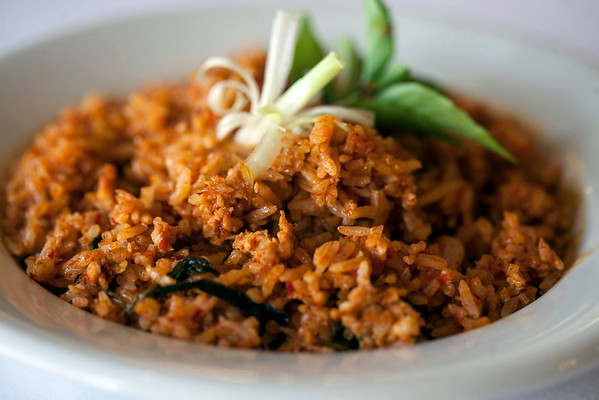 Khao Pad Kraproa is a Thai-styled fried rice with pork.