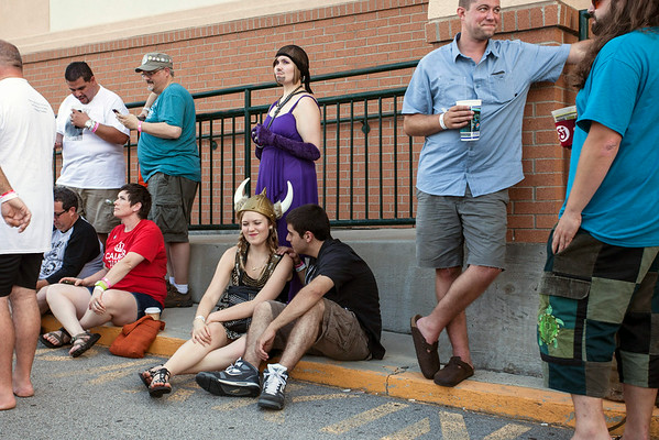 Costumed fans began to line the sidewalk in anticipation of the Bowling Party.