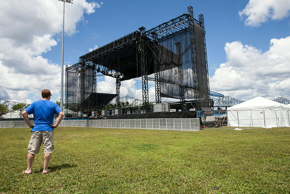 The Mast Stage sits all alone on the great lawn Wednesday afternoon, but by this weekend it will be surrounded by thousands of music fans.