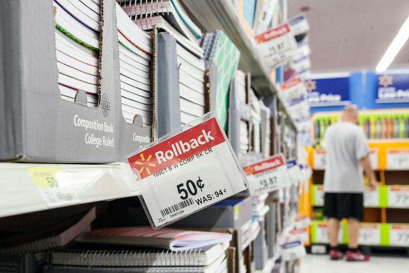 Department stores like WalMart compete for the back to school dollar by slashing prices on the essentials.