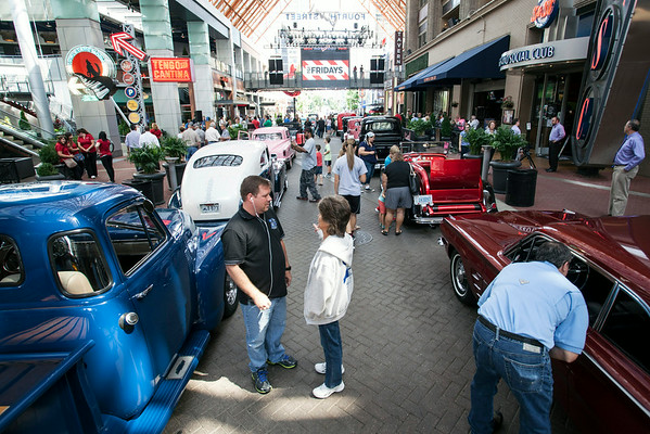 The lunch time crowd at Fourth Street Live! on Wednesday wandered into a parade of vintage Street Rods in town for the 45th Annual Street Rod Nationals.
