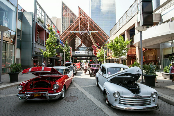 A parade of Street Rods roared into Fourth Street Live! Wednesday afternoon drawing interest from the lunch time crowds.