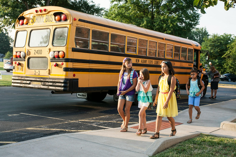 Grant Line Elementary students trickle in as busses arrive to start the new school year in Southern Indiana.