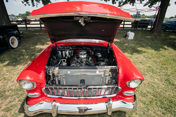 Lew Wessel's 1955 Chevrolet Bel Air sports a 350hp engine with a two four barrel carburetors.
