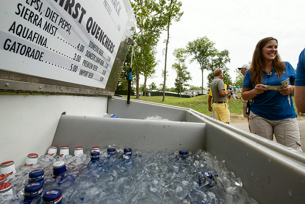 Beverages were readily available to combat the muggy conditions at Valhalla on Thursday.