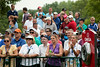 The crowd reacts to Kenny Perry's drive from hole #10 on Thursday.