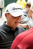 Henderson, KY native Brian Norman fields questions from reporters near the Clubhouse after completing his first round at Valhalla on Thursday.