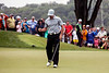 Rory McIlroy gives a fist pump to show his satisfaction after sinking a putt on the ninth hole at Valhalla on Friday. He finished the second round as the leader in the 2014 PGA Championship.