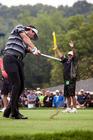 Bubba Watson takes his turn at the 8th hole at Valhalla on Friday.